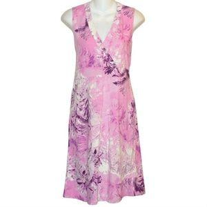 CALVIN KLEIN Floral Cotton Jersey Dress Medium